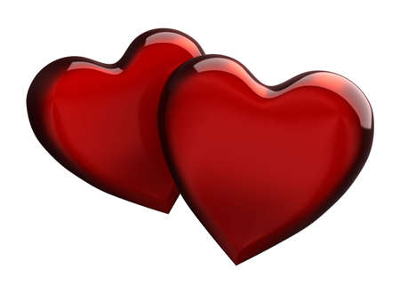 Two red hearts overlapping on white background photo