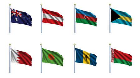 World flag set 02 - Australia, Austria, Azerbaijan, Bahamas, Bahrain, Bangladesh, Barbados and Belarus photo