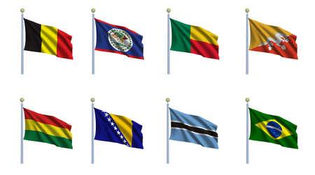 World flag set 03 - Belgium, Belize, Benin, Bhutan, Bolivia, Bosnia and Herzegovina, Botswana and Brazil