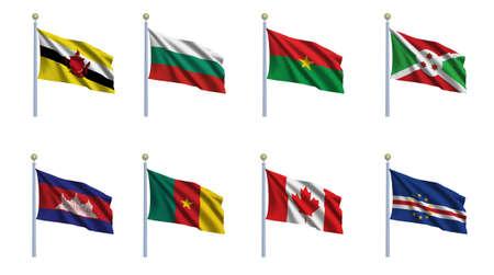 cameroonian: World flag set 04 - Brunei, Bulgaria, Burkina Faso, Burundi, Cambodia, Cameroon, Canada and Cape Verde