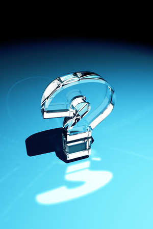 Question mark made out of glass with reflection over blue background Stock Photo - 4679512