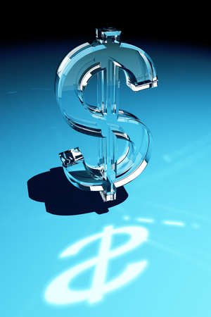 Glass dollar symbol over blue gradient background Stock Photo - 4679517
