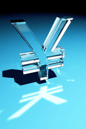 Glass Yen symbol over blue gradient background photo