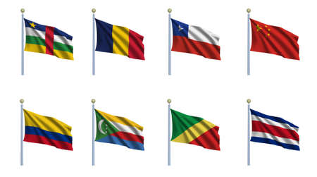chadian: World flag set 05 - Central African Republic. Chad, Chile, Peoples Republic of China, Colombia, Comoros, Republic of the Congo and Costa Rica