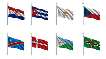 World flag set 06 - Croatia, Cuba, Cyprus, Czech Republic, Congo - Democratic Republic, Denmark, Djibouti and Dominica photo