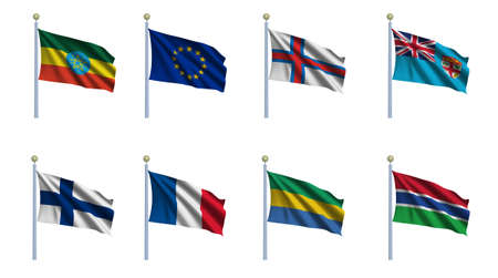 World flag set 08 - Ethiopia, European Union, Faroe Islands, Fiji, Finland, France, Gabon and Gambia photo