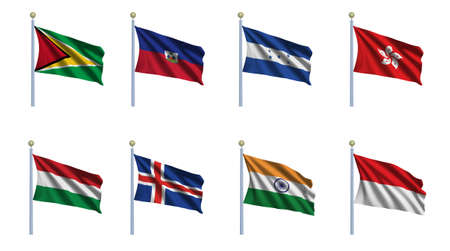 haitian: World flag set 10 - Guyana, Haiti, Honduras, Hongkong, Hungary, Iceland, India and Indonesia