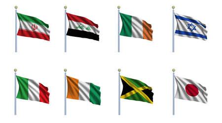 flagpoles: World flag set 11 - Iran, Iraq, Ireland, Israel, Italy, Ivory Coast, Jamaica and Japan Stock Photo