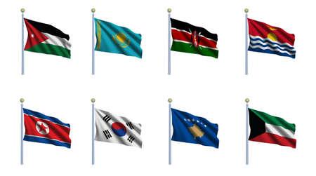 kazakhstan: World flag set 12 - Jordan, Kazakhstan, Kenya, Kiribati, North Korea, South Korea, Kosovo and Kuwait Stock Photo