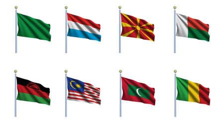 World flag set 14 - Libya, Luxembourg, Macedonia, Madagascar, Malawi, Malaysia, Maldives and Mali photo