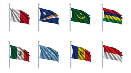 World flag set 15 - Malta, Marshall Islands, Mauritania, Mauritius, Mexico, Federated States of Micronesia, Moldova, Monaco photo