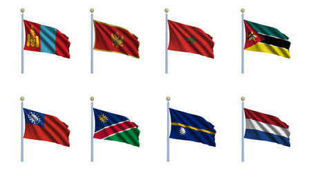 mongolia: World flag set 16 - Mongolia, Montenegro, Morocco, Mozambique, Myanmar, Namibia, Nauru and the Netherlands Stock Photo