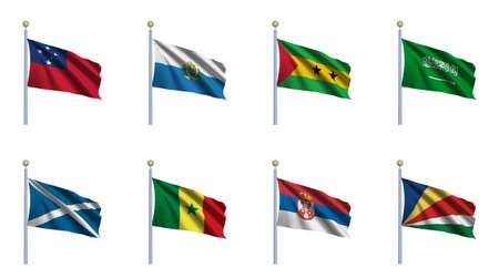 tomo: Mondo Bandiera Set 20 - Samoa, San Marino, S�o Tom� e Pr�ncipe, Arabia Saudita, Scozia, Senegal, Serbia, Seychelles Archivio Fotografico