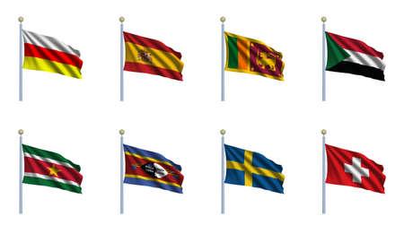 World Flag Set 22 - South Ossetia, Spain, Sri Lanka, Sudan, Suriname, Swaziland, Sweden, Switzerland photo