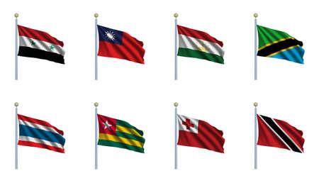 flagpoles: World Flag Set 23 - Syria, Taiwan, Tajikistan, Tanzania, Thailand, Togo, Tonga and Trinidad and Tobago