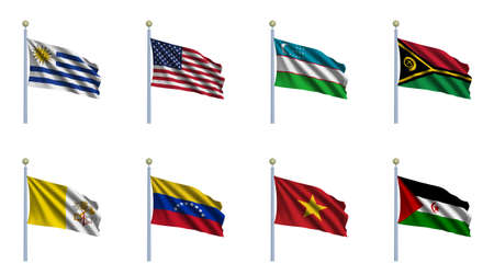 flagpoles: World Flag Set 25 - Uruguay, United States, of America, Uzbekistan, Vanuatu, Vatican City, Venezuela, Vietnam,  Western Sahara