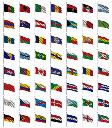 World Flags Set 1 of 4 - A to E - set of flags in alphabetical order from Afghanistan to Equatorial Guinea Stock Photo