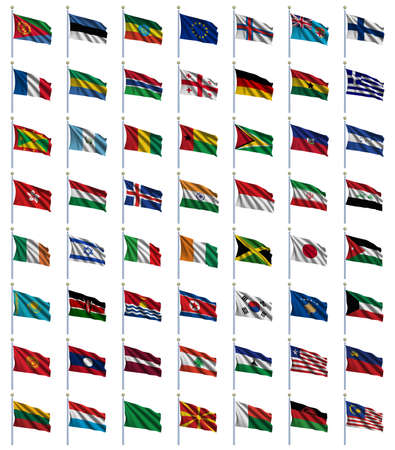 fluttering: World Flags Set 2 of 4 - E to M - set of flags in alphabetical order from Eritrea to Malaysia Stock Photo