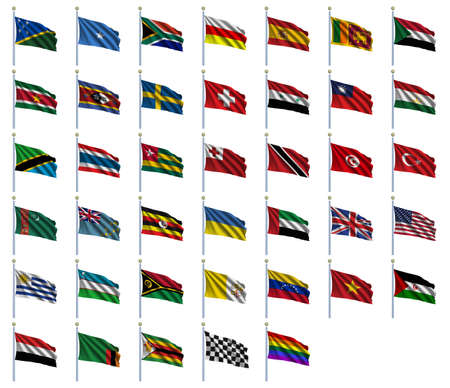 zwitserland vlag: World Flags Set 4 van 4 - A tot Z - set vlaggen in alfabetische volgorde van de Salomonseilanden aan Zimbabwe Stockfoto