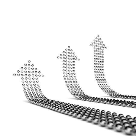 shaping: Chrome spheres shaping three arrows pointing upwards Stock Photo