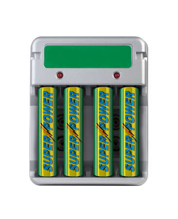 nimh: Battery charger isolated over white with fake batteries Stock Photo