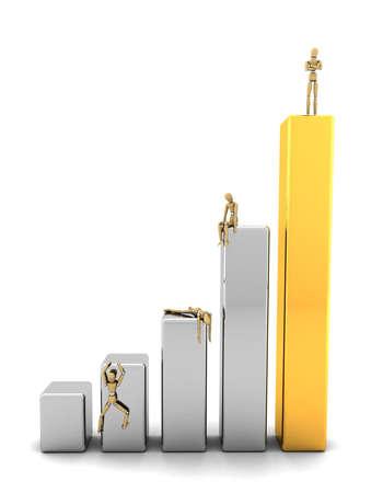 ascending: Permanente hombre de negocios en la parte superior de las barras de la gr�fica, mientras que la competencia est� siendo derrotada