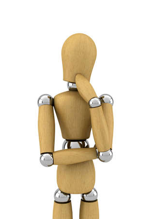 manikin: Wooden mannequin contemplating in front of white background Stock Photo
