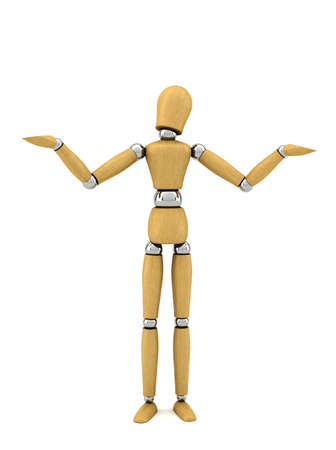 unknowing: Confused wooden mannequin over white background no knowing anything Stock Photo