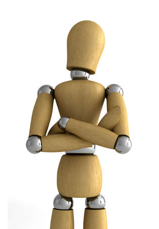 the depth: Wooden mannequin standing in front of white background with arms crossed - shallow depth of field