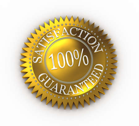 Isolated Satisfaction Guaranteed seal over white Stock Photo - 6033772
