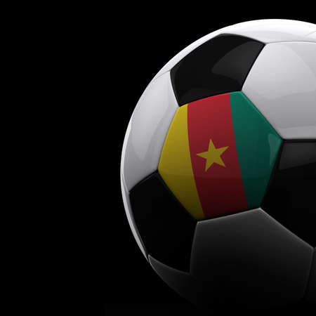 cameroonian: Cameroonian soccer ball on black background Stock Photo