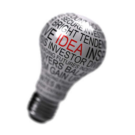 bulb idea: Single light bulb on white background with business expressions on it highlighting the word idea