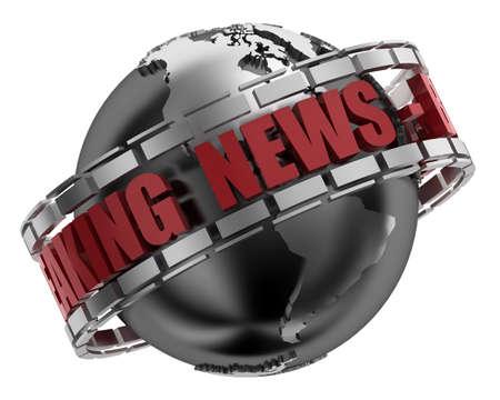 Breaking News Globe in 3D Stock Photo - 7139230