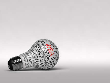 single word: Single light bulb on white background with business expressions on it highlighting the word idea
