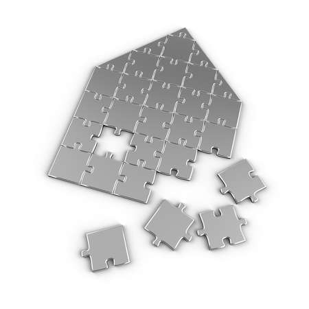 broken house: House concept with puzzle pieces over white background