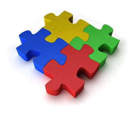 Four puzzle pieces interconnected with each other over white background Stock Photo - 7373757