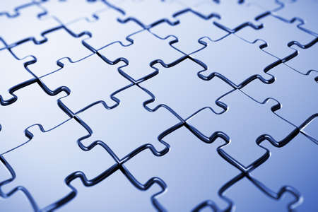 puzzle jigsaw: Blank puzzle with blue tint and shallow depth of field