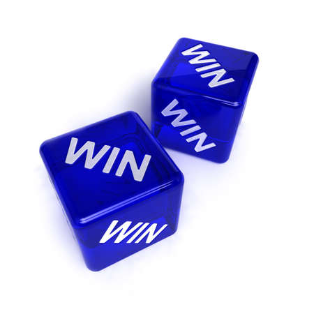 dices: Win-win situation - two blue, semi-transparent dice with the word WIN on them over white background