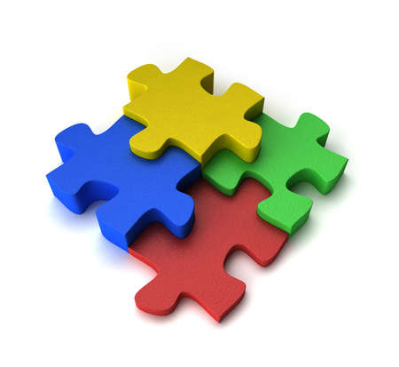 separated: Four puzzle pieces interconnected with each other over white background