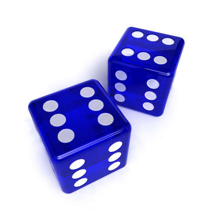 Two blue, semi-transparent dice with the number six on them over white background Stock Photo - 7407615