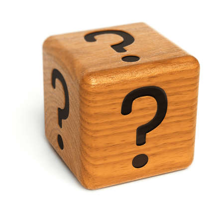 brainteaser: Wooden dice with question marks on it over white background Stock Photo