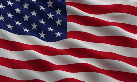 Flag of the USA waving in the wind - very highly detailed fabric texture photo