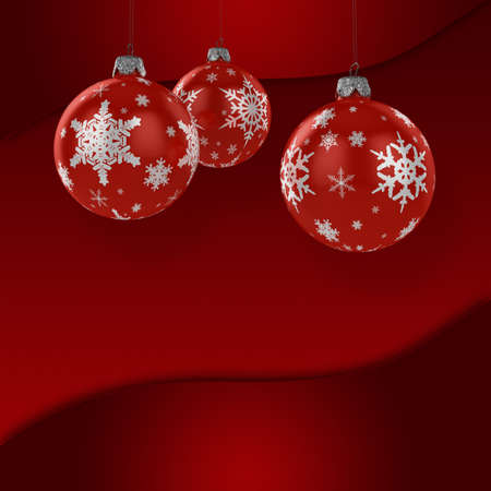 Red christmas ornaments over christmas background - square version photo