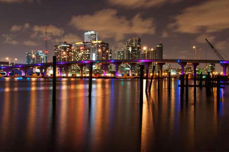 Night view of the Miami skyline photo