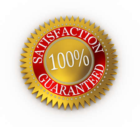 Isolated Satisfaction Guaranteed seal over white Stock Photo - 7627325
