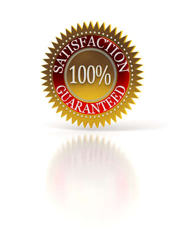 Isolated Satisfaction Guaranteed seal over white Stock Photo - 7727834