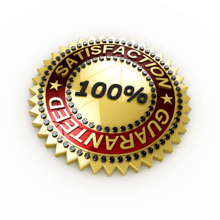 Satisfaction Guaranteed seal over white background photo