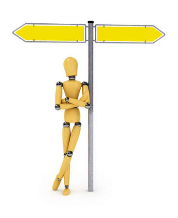 Wooden mannequin leaning against street sign over white photo