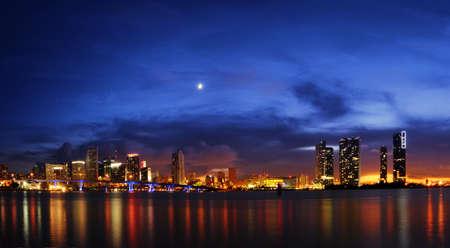 Miami skyline at night right after sundown photo
