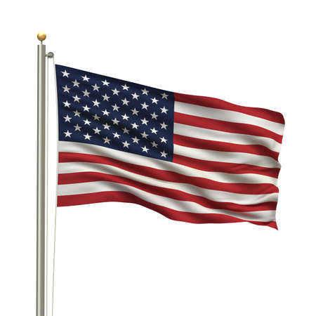 waving: Flag of the USA the flag pole waving in the wind over white background